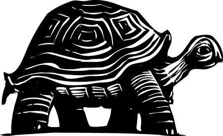 wandering: Woodcut style turtle or tortoise wandering around.