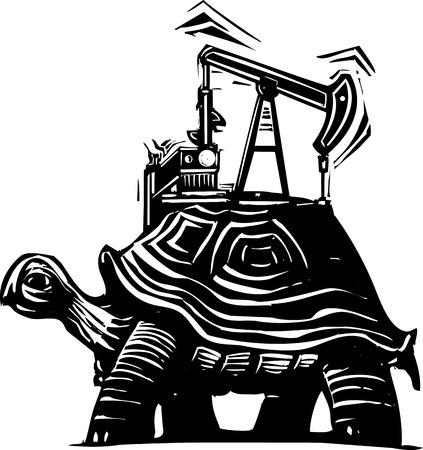 fracking: Woodcut style image of a turtle with an oil well pumping rig on his back.