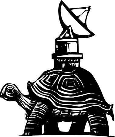 steady: Woodcut style image of a turtle with a radio dish antenna on his back.