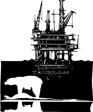 arctic: Woodcut style image of a polar bear and an oil rig in the arctic.