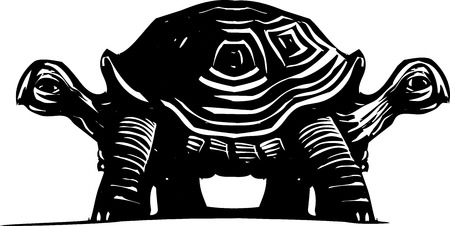 steady: Woodcut style image of a turtle with two heads.