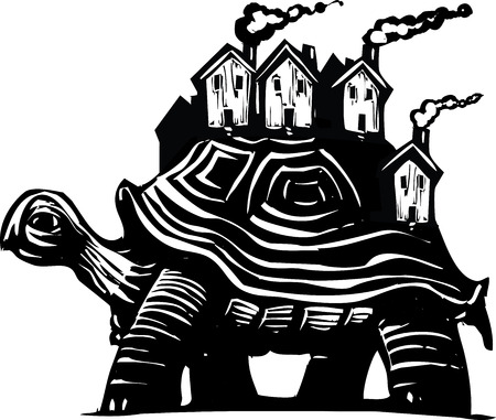 conservative: Woodcut style image of a turtle carrying a town of houses on his back. Illustration