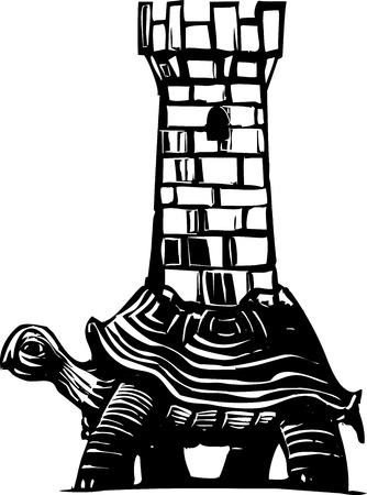 fortification: Woodcut style image of a turtle with a medieval fortress on his back.