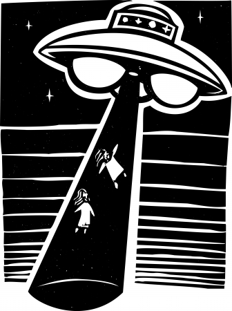 Alien AWoodcut style image an alien abduction at night with a flying saucer. Illustration