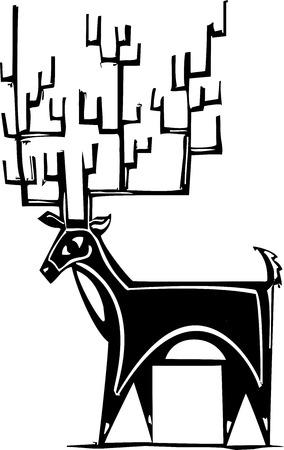 herd deer: Woodcut style reindeer with a huge antler rack. Illustration