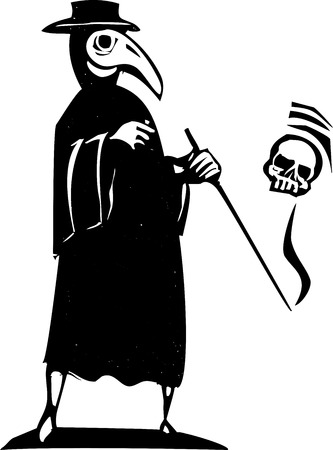 Medieval style woodcut image of a plague doctor in a mask.