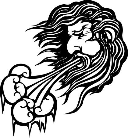 Image de style de gravure sur bois de la face du vent du nord soufflant de l'air froid. Banque d'images - 24058578