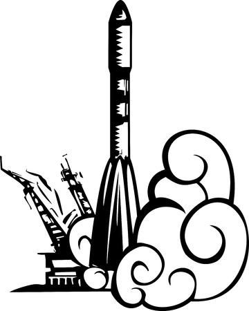 booster: image de style de gravure sur bois d'un Soyouz sovi�tique fus�e russe hors levage d'une rampe de lancement.