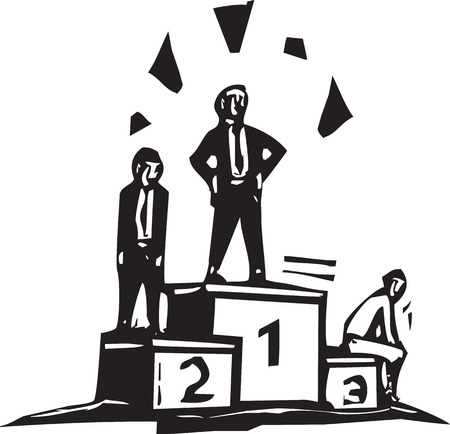 Woodcut business image of three people standing on platform after a contest. Illustration