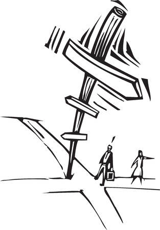 Woodcut style image of two business people at crossroads with a sign.