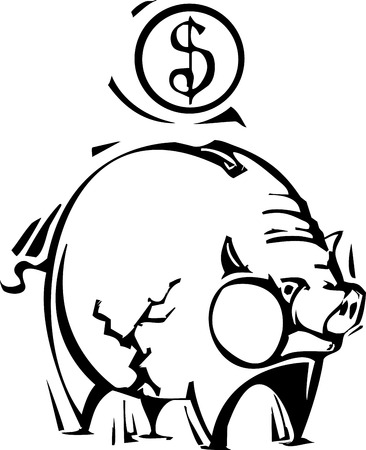 Woodcut style image a piggy bank with a crack in it. Illusztráció