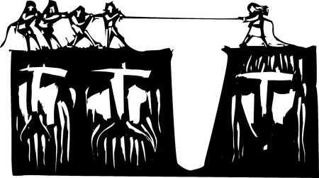 tug of war: Men and and woman play tug a war over cliffs with gender based faces. Illustration