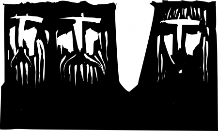 Expressionist woodcut image of Three heads two men and a woman