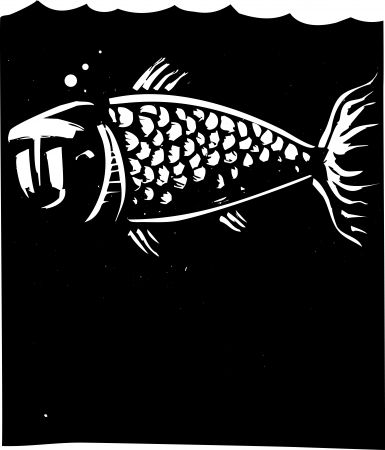 Woodcut style image of a fish with a human face Vector