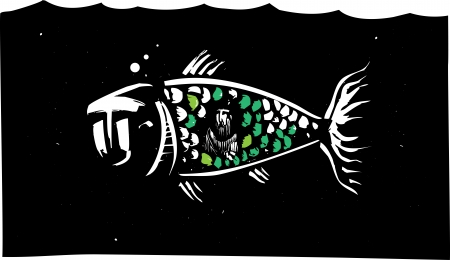 Woodcut style image of biblical Jonah inside a whale. Vector