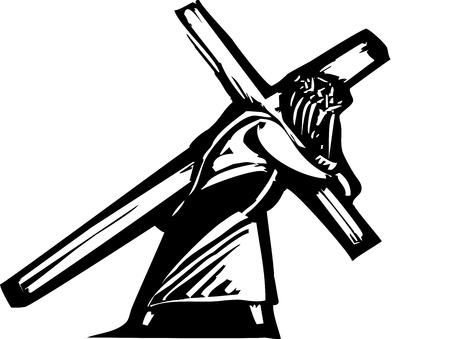 Jezus Christus met het kruis op zijn rug naar zijn kruisiging. Stock Illustratie