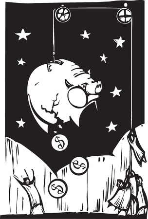 hoisting: Woodcut style image of people hoisting a piggy-bank into the air in order to get the money out.