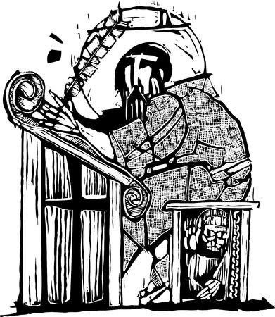 Monnik in een klooster schriftelijk met een Quill pen. Stock Illustratie