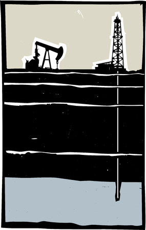 aquifer: Drill and Pump jack drilling in the ground down to an aquifer. Illustration