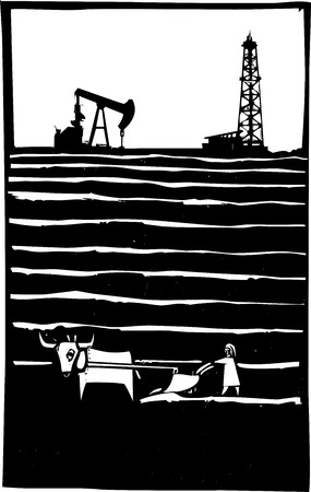 Woodcut style image of an oil well by a primitive impoverished farm. Ilustração