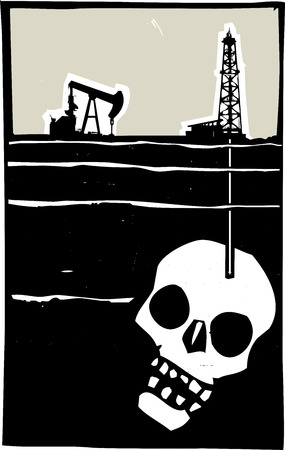 fracking: Woodcut style image Oil well drilling down into the earth and into a human skull.