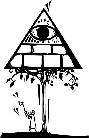 Woodcut style image of a girl chopping down a tree with the Masonic Pyramid. Ilustração