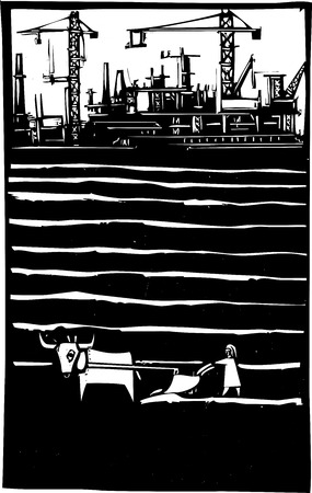 plow: Woodcut style image of cranes and factories by a primitive impoverished farm. Illustration