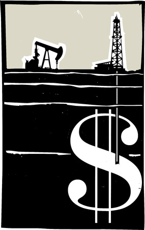 aquifer: Woodcut style image Oil well drilling down into the earth and into a dollar sign.