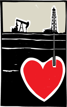 fracking: Woodcut style image Oil well drilling down into the earth and into a Heart. Illustration