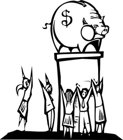 Woodcut image of a crowd of people worshiping a piggy bank