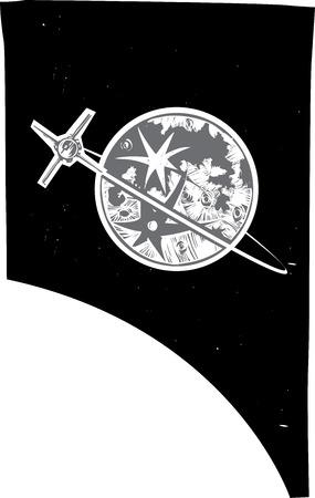 Houtsnede stijl beeld van de maan van de Aarde en een baan satelliet