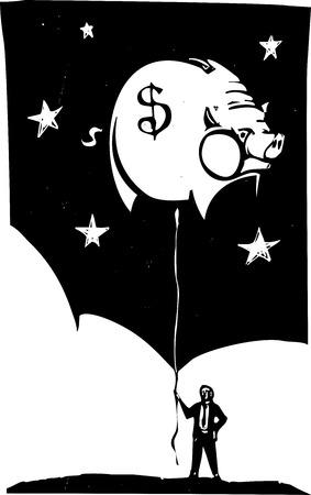 Houtsnede stijl afbeelding van een man in een pak met een spaarpot vormige ballon