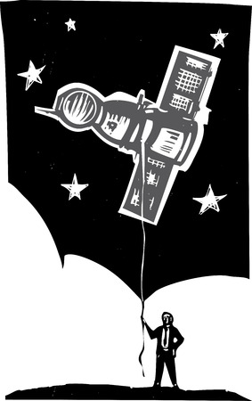 satellite launch: Woodcut style image of a man in a business suit holding a Russian Soyuz capsule on the end of a string.