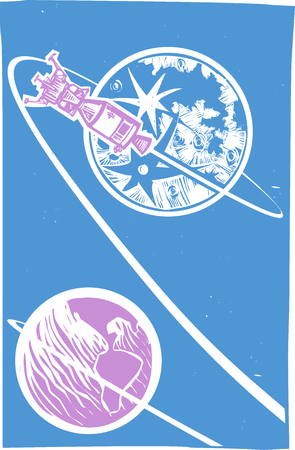 apollo: Woodcut style image of the moon lander and the Apollo capsule orbiting the moon