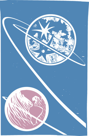 Soviet Poster style image of the of a Lunar orbit from the Earth to the Moon. 向量圖像