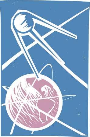 sputnik: Soviet Poster style image of a Russian Sputnik satellite orbiting Earth.