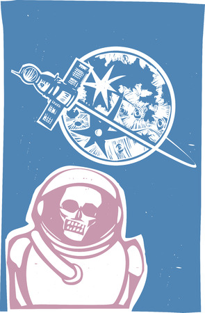 Soviet Poster style image of a Russian Zombie cosmonaut with Soyuz capsule orbiting the moon. 向量圖像