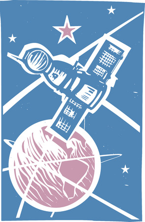soyuz: Soviet Poster style image of a Russian Soyuz capsule orbiting Earth.