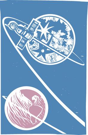 soyuz: Soviet Poster style image of a Russian Soyuz capsule orbiting the moon.