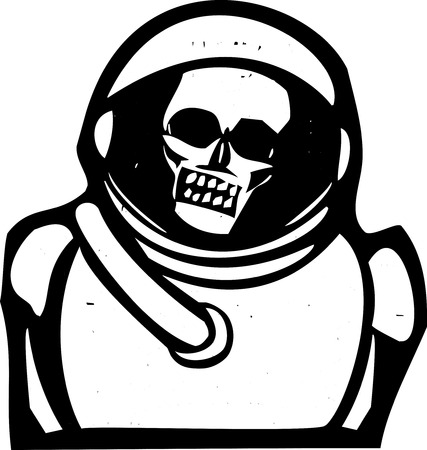 spacesuit: Woodcut style image of a skull inside a spacesuit helmet. Illustration