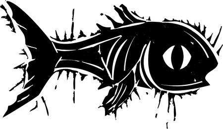 woodblock: Woodblock style print of fish with a big eye  Illustration