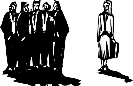 exclude: Crowd of men in business suits excluding a woman with briefcase