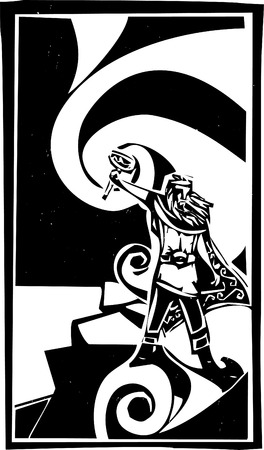 Woodcut style image of the Viking God Thor with swirling clouds