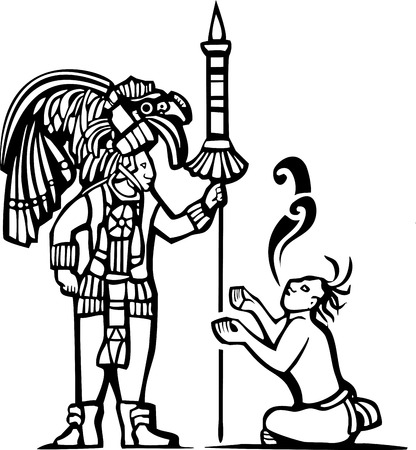 Traditional Black and White Mayan Mural image of a Mayan Warrior and a captive with speech scrolls. Vector