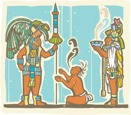 toltec: Traditional Mayan Mural image of a Mayan Warrior, sacrifice and priest.