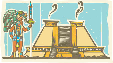 ancient civilization: Traditional Mayan Mural image of a Mayan Warrior standing next to a stepped pyramid. Illustration