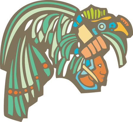 ancient civilization: Traditional Mayan Mural image of profile of a Mayan Warrior.