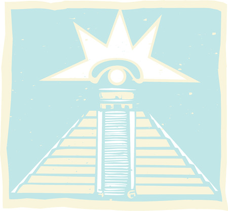 Mayan Pyramid with Venus Eye Glyph designed after Mayan Pottery and Temple Images