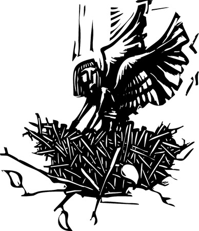 Woodcut style image of an winged angel waking up in a bird Illustration