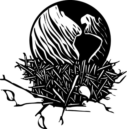 potential: Woodcut style image of the Earth resting in a birds nest  Illustration